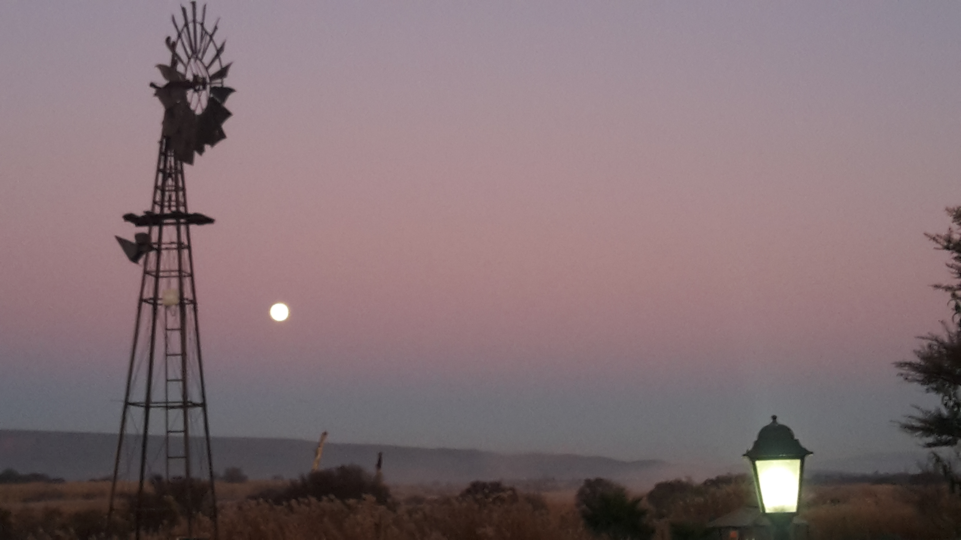 The 'blue moon' setting as the dawn wakes up the sky