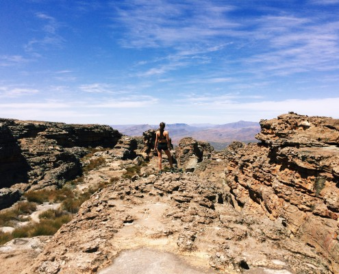 Looking out at the Cederberg wilderness from atop the Wolfberg Cracks